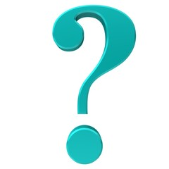 question mark 3d turquoise cyan icon sign rendered symbol isolated on white background in high resolution for print business presentation and internet