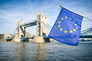 European Union flag flying in front of Tower Bridge, London, in a statement of solidarity in the United Kingdom's Brexit withdrawal from the EU
