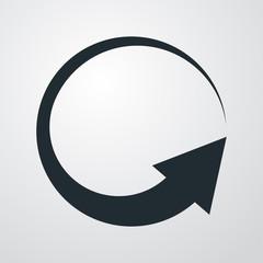 Icono plano flecha giratoria en fondo degradado