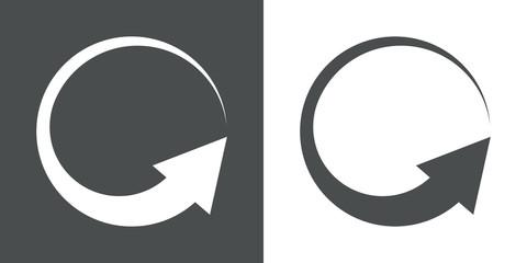 Icono plano flecha giratoria gris y blanco