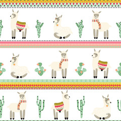 Seamless background with lama and Aztec pattern