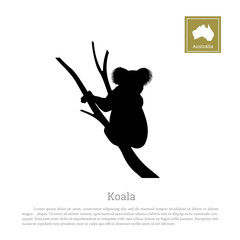 Black silhouette of koala on white background. Animal of Australia