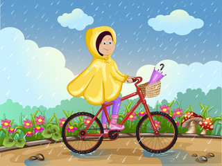 Girl in raincoat riding on a bicycle under the rain.
