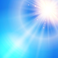 The sun shiny sunlight from the sky nature with lens flares vector