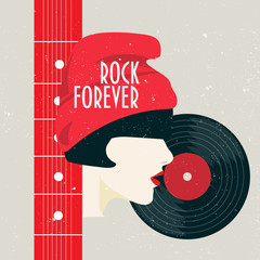 Vector minimalist illustration: vintage poster Rock Forever with  a girl, vinyl record and guitar neck.