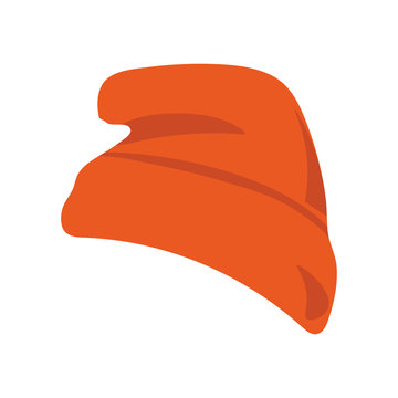 Vector illustration: red beanie or seamed cap, also known as knitted or knit cap isolated.