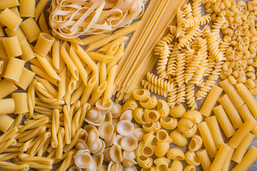 Various types of dry pasta