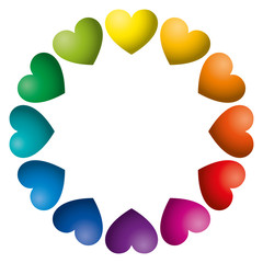 Rainbow color hearts arranged in a circle. Twelve heart symbols in unique color hues. Isolated illustration on white background. Vector.