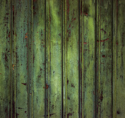 Scary scratched dark wooden background texture. Old mystic green floor boards, abandoned house.