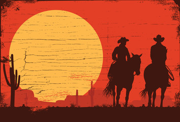 Silhouette of Cowboy Couple riding horses on a wooden sign, vector
