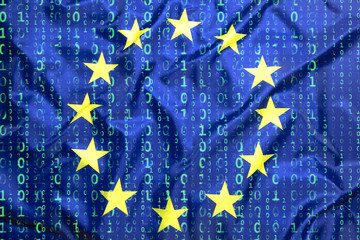 Binary code with European Union flag
