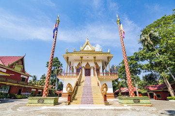 Exterior of Theravada buddhist temple Leu Pagoda located in Sihanoukville (Krong Preah Sihanouk), Cambodia