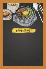 Hand drawn Bibimbap, Korean food on a chalk board