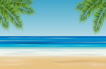Tropical landscape with sea, sandy beach and palm trees - vector illustration