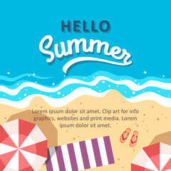 Hello summer concept vector illustration. Top view of beach. Template for poster, banner, card, flyer etc.