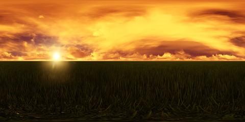 dark sky with golden clouds in a grass field