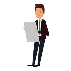 businessman with documents avatar character icon vector illustration design
