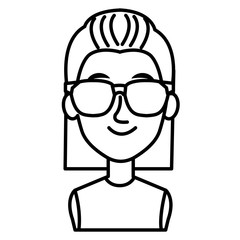 young woman with glasses avatar character vector illustration design
