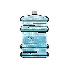 drawing water bottle big plastic dispenser vector illustration