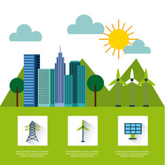 types of energy sources eco friendly related image vector illustration design