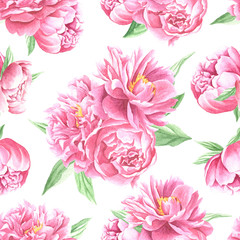 Watercolor peonies bouquet seamless pattern, hand drawn flowers with green leaves white  repeating background. Floral art design.