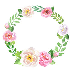 Floral hand drawn green watercolor wreath, brunches with leaves, roses and buds, with space for text, isolated on white background, retro botany illustration, can be used for wedding invitation design
