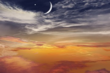 Sunset and new moon . Red sunset and moon . Eid Mubarak background  .  Against the background of clouds . beautiful sky . Nasa . Yellow and pink clouds . Sunset and new moon  .  Prayer time.