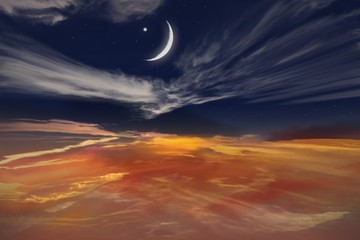 Muslim's half moon . Sunset and new moon . Red sunset and moon . Eid Mubarak background  .