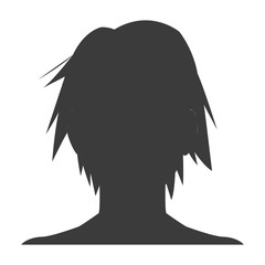 silhouette head boy anime avatar image vector illustration