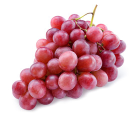 Fototapete - Ripe red grape. Pink bunch isolated on white background. With clipping path. Full depth of field.