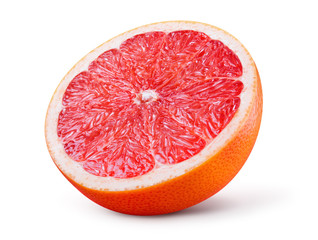 Grapefruit isolated on white background. Half of fruit. With clipping path.