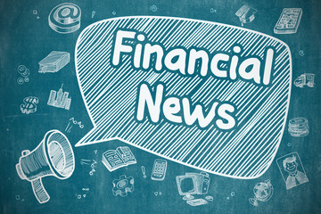 Shrieking Megaphone with Phrase Financial News on Speech Bubble. Hand Drawn Illustration. Business Concept.