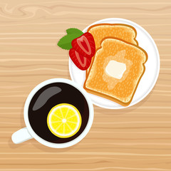 Delicious Breakfast. Aromatic coffee with lemon and crispy toasted toast with butter and slices of strawberries on a wooden texture.
