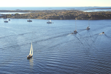 Several boats in a swedish summer setting