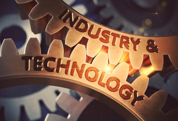 Industry And Technology on the Mechanism of Golden Metallic Cog Gears with Lens Flare. Industry And Technology - Technical Design. 3D Rendering.