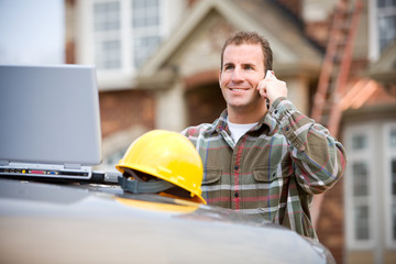 Construction: Construction Worker on Phone