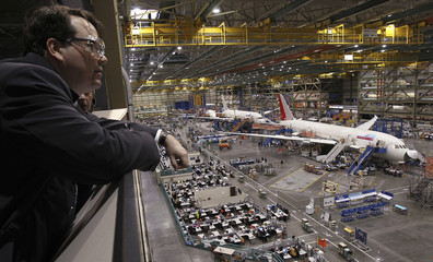 Factory visitor observes the Boeing 787 Dreamliner production line in Everett