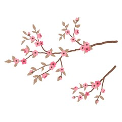 Branch of a tree with pink flowers and leaves isolated on a white background. Vector illustration.