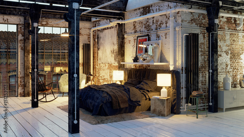 bett in altem loft apartment sleeping area in old loft vintage industrial apartment stock. Black Bedroom Furniture Sets. Home Design Ideas