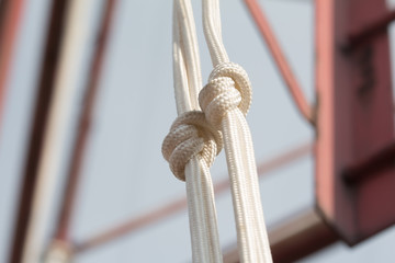 two white rope knots