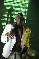Singer Maxi Jazz of Faithless performs on stage in Beirut