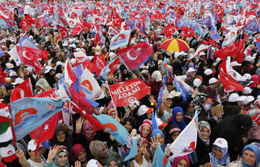 Supporters of Turkey's Prime Minister and presidential candidate Tayyip Erdogan wave flags during an election rally in Istanbul