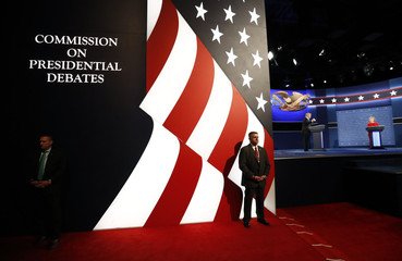 Security personnel stand guard during first presidential debate at Hofstra University in Hempstead