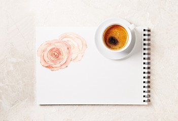 Cup of Coffee on a Drawing Pad (hand drawn flowers)