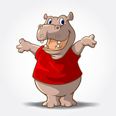 "This is a Hippo Cartoon animal with red shirt, it's look like said ""hi..."". Vector mascot illustration."