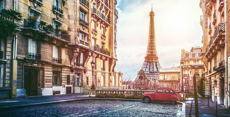 Printed kitchen splashbacks Central Europe The eifel tower in Paris from a tiny street
