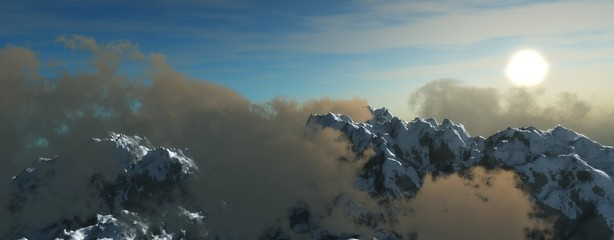 Mountain peaks in the clouds, a panorama of snowy mountains in the clouds, a mountain landscape, 3D rendering