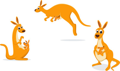 illustration of Mother kangaroo with her baby
