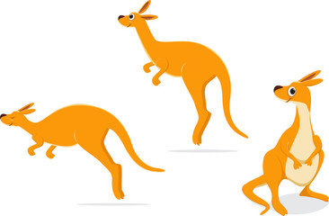 cartoon kangaroo collection set. vector illustration
