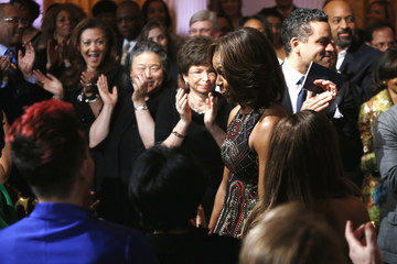"U.S. first lady Michelle Obama arrives to play host to ""In Performance at the White House: Women of Soul"" in Washington"